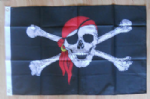 Pirate Red Bandana Large Flag - 3' x 2'.